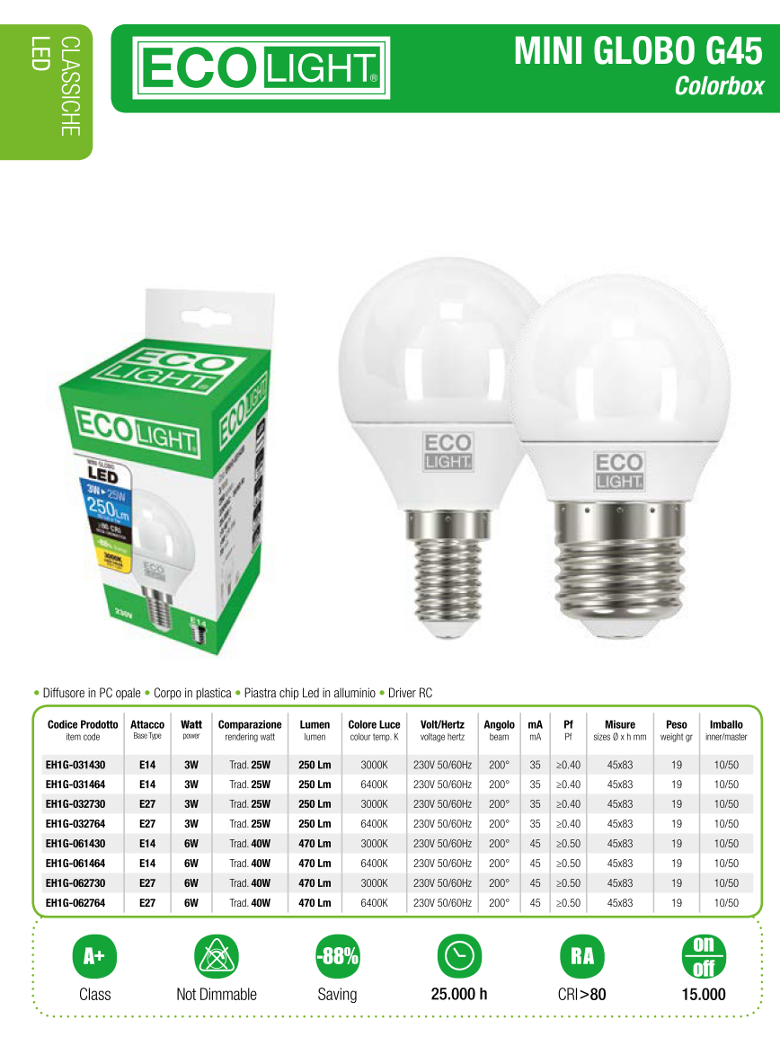 LAMPADA LED MINI GLOBO 6W E14 E27 ECOLIGHT